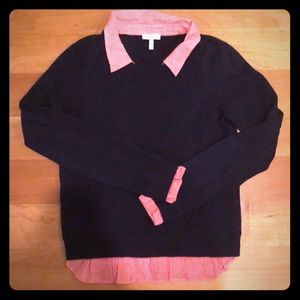 Cashmere Blend Joie Sweater Collared Shirt Detail
